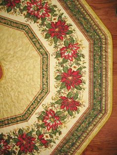 Christmas Tree Skirt Quilted with Poinsettias by PicketFenceFabric, $84.95
