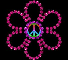A jeweled peace sign flower. It's so beautiful. That I just love it!!!!!!:)