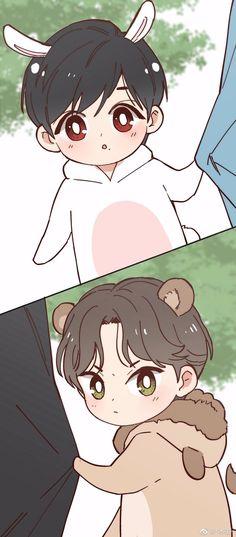 Cr back to its owner Chibi Boy, Bts Chibi, Anime Chibi, Chanbaek Fanart, Kpop Fanart, Bts Funny Videos, Cute Ghost, Kpop Drawings, Chinese Boy