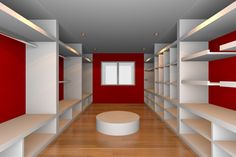 Dramatic+and+large+walk-in+closet+with+red+walls,+white+shelving+and+hard+wood+flooring