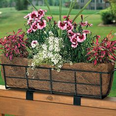 Easy to use, the CobraCo Canterbury Rectangle Railing Planter keeps your flower boxes well-supported Balcony Railing Planters, Deck Railings, Balcony Garden, Window Planter Boxes, Planter Pots, Railing Planter Boxes, Barrel Planter, Planter Ideas, Flower Landscape