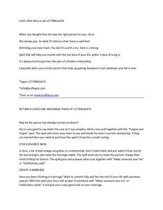 Lost love spells. call +27799616474 by prof kigoo via slideshare