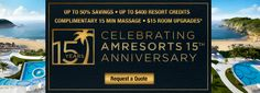 AM Resorts 15 Year Anniversary Sale  We are celebrating 15 years of sun-soaked beaches, elegant accommodations, gourmet dining and unlimited premium beverages in stunning and exotic beachfront locations. Book your stay by August 1st for travel through December 22, 2016 to enjoy this celebratory offer: up to 50% Savings, up to $400 Resort Credit, Complimentary 15 Minute Massage and $15 Room Upgrades! 877.439.8747 Dreams Resorts, 15 Year Anniversary, Sun Soaked, December 22, 15 Years, Beaches, Massage, Exotic, Beverages