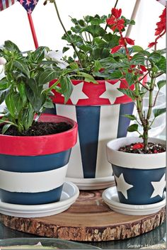 4th of July clay pots