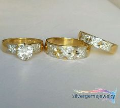 His Her Men Womens Diamond Rings Set Wedding Band 10k Yellow Gold Trio 1.50 CT #Silvergemsjewelry