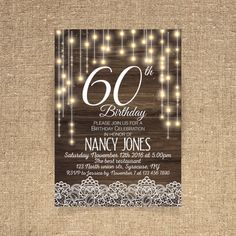 60th birthday invitation Birthday party Rustic by CoolStudio