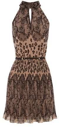 Pleated Lace And Animal Print Dress