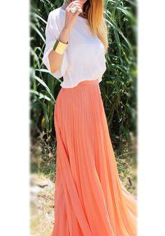 Orange Plain Pleated Ankle Straight Polyester Skirt