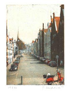 Lübeck, Dankwartsgr., Farbrad., 19 x 14 cm Plattenform., Aufl. 50, 160, - Friedel Anderson