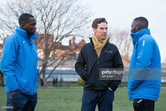 Benedict Cumberbatch (2nd L), pictured with coaches Ibrahim Kanu (L) and Ade Akande (R), visits the Laureus supported Active Communities Network programme at Burgess Park Community Sports Centre, ahead of hosting the 2018 Laureus World Sports Awards in Monaco taking place on February 27, on February 6, 2018 in London, England.