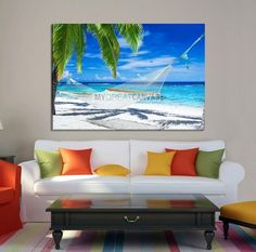 Large Wall Art Canvas Hammock Between Palms in Shiny Day