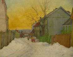 A Street In Oslo by Harald Oskar Sohlberg Handmade oil painting reproduction on canvas for sale,We can offer Framed art,Wall Art,Gallery Wrap and Stretched Canvas,Choose from multiple sizes and frames at discount price. Painting Snow, Winter Painting, Painting Art, Romanticism Paintings, Oil Painting Techniques, Nordic Art, Scandinavian Art, Oil Painting Reproductions, Canvas Art Prints