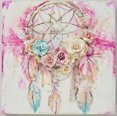 Prima marketing dream catcher canvas (my boys, my world! Dream Catcher Canvas, Dream Catcher Painting, Diy Crafts For Bedroom, Diy Bedroom, Cuadros Diy, Scrapbooking, Mixed Media Canvas, Painting Inspiration, Catcher