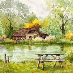 Breeze Of Green, Bibury, Cotswold, Gloucestershire, England: Kiyoharu Narazaki. Landscape Drawings, Watercolor Landscape, Landscape Art, Landscape Paintings, Watercolor Paintings, Art Drawings, Green Watercolor, Watercolours, Japan Watercolor