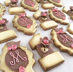Royal icing based cookies with fondant accents.