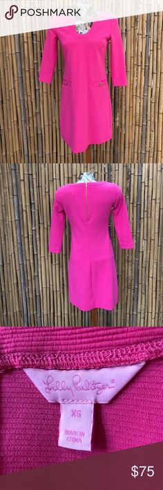 Lilly Pulitzer Dress Super cute bright pink Lilly Pulitzer dress with scoop neck and faux pockets with buttons. Lilly Pulitzer Dresses Midi