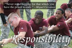 In October 2013, the Cadets participated in the Academy's Founder's Day celebration. Tug-of-war is one of the contests between Hargrave companies. Responsibility was the October character theme for the 2013/2014 Academic year.