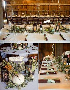 Hochzeit Location Scheune Herbst feiern Laterne Kürbisse