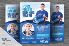 Drinking Water Services Flyer Design Template Boost your company's sales and attract new customers! This Drinking Water Services Flyer/ Flyer Design Template has been developed to boost your Flyer Design Templates, Psd Templates, Flyer Template, Business Brochure, Business Card Logo, Water Delivery, Marketing Opportunities, Mineral Water, Drinking Water
