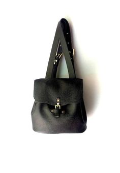 Black leather backpack / Genuine Italian leather bag by AnaKoutsi