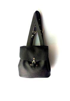Black leather backpack / Genuine Italian leather bag by AnaKoutsi