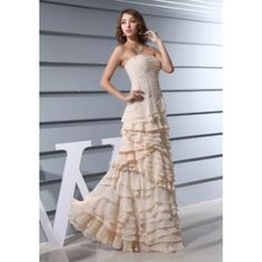 Strapless Ruffles A-line  Sleeveless Pleated Prom Dress