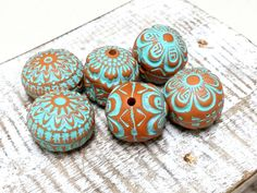 Orange with turquoise accent Stamped Bead Set for Jewelry Making, Artisan Hollow Polymer Clay Beads, Textured Rustic Tribal Style Beads by OrlyFuchsGalchen on Etsy