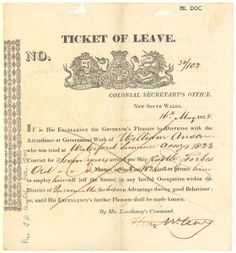 Ticket of leave no. 28/102 issued to William Anson, 16 May 1828, signed by Alexander McLeay, Colonial Secretary. Mitchell Library, State Library of New South Wales: http://www.acmssearch.sl.nsw.gov.au/search/itemDetailPaged.cgi?itemID=423919