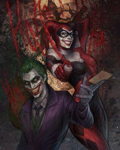 """Joker and Harley! | Art by @jasricart | #igers #instahub #instagood…"