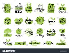 vector eco organic bio logos or signs. vegan raw healthy food badges tags set for cafe restaurants products packaging etc. Healthy Beauty, Health And Beauty, Bio Logo, Eating Too Much Protein, Food Signs, Care Logo, Logo Sign, Logo Restaurant, Health Logo