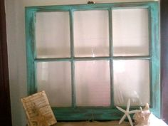 Vintage Shabby Chic Rustic Turquoise Window Frame (to decorate the reception hall!)