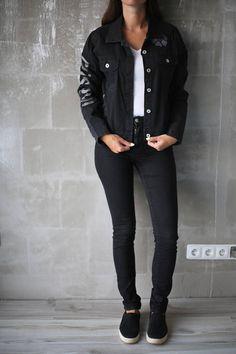 Vtg Prada Black Printed Patched Embroidery Denim Jacket/ Woman