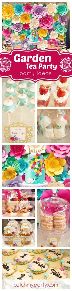 You'll love gorgeous Garden Tea Party Birthday Party! The paper flower backdrop is amazing !! See more party ideas at CatchMyParty.com