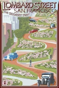 San Francisco, California - Lombard Street - Lantern Press Poster