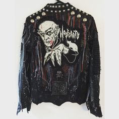 Nosferatu jacket! Studded punk rock, horror, heavy metal studded jacket from Chad Cherry Clothing