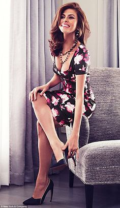 Fashion forward: In the shoot, the actress poses in a series of feminine floral flocks and pencil skirts