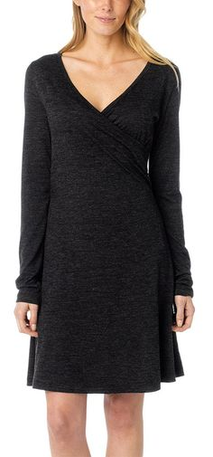 The #prAna Nadia Long Sleeve #Dress is a lightweight wool blend with full length sleeves.