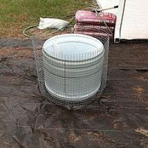 Gabion Planter from defunct clothes dryer