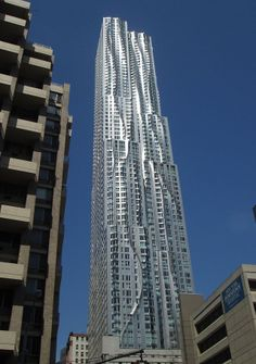 The second tallest residential building in the Western Hemisphere, the 870 ft. (265 m) high 76-story 8 Spruce Street (also known as the Beekman Tower) by Frank Gehry in Lower Manhattan, New York City, 2011