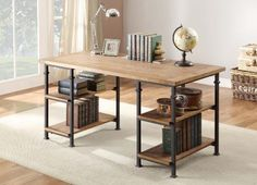 """Home Elegance 3228-15 Writing Desk with Metal Finish, Burnished Brown Rustic industrial modern desk with shelves, no drawers, though. About $370 on sale at Amazon.com Has matching shelving units (70"""" tall, and $189 each on sale), console table/media stand, and side table."""