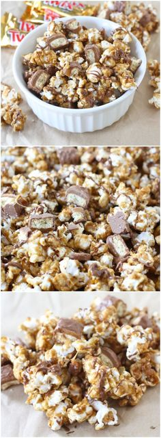 Twix Caramel Popcorn Recipe on http://twopeasandtheirpod.com This sweet popcorn is perfect for snacking!
