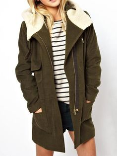 Green Longline Woolen Hooded Coat - Fashion Clothing, Latest Street Fashion At Abaday.com