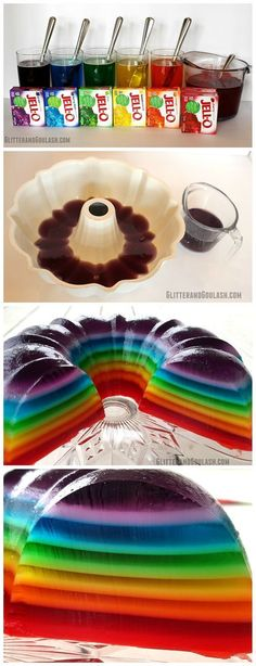 Rainbow Jello Mold using a bundt pan...what a fun dessert for a party or st.patricks day!!                                                                                                                                                                                 Más