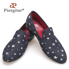 99.00$  Buy now - http://alih69.worldwells.pw/go.php?t=32472152831 - Men Denim Shoes Piergitar New Fashion Star Men Loafers Navy blue Plus Size Men's Flats Size US 4-17 Free shipping 99.00$
