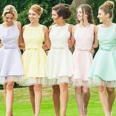 Rainbow Bridesmaid Dresses, Open Back Scoop Neck Bridesmaid Dress, Cute Mini Bridesmaid Dress with Sweet Bows,Short dress