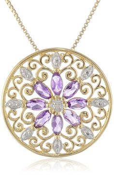 """18k Yellow Gold-Plated African Amethyst and Diamond Pendant Necklace, 18"""""""