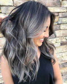 New Nails Grey Gray Color Combos Ideas Hair Color And Cut, Ombre Hair Color, Hair Colors, Gray Hair Highlights, Grey Hair Lowlights, Pinterest Hair, Hair Dos, Balayage Hair, Hair Inspiration