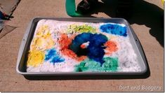 Colorful Baking Soda and Vinegar Preschool Science Experiment