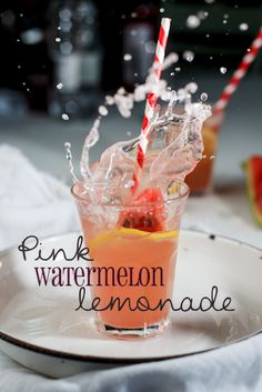 Pink Watermelon Lemonade  Ingredients  2 cups water  1 cup lemon juice  1.5 cups sugar  3 cups watermelon, pureed