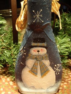 Snowman Glass Bottle candle holder